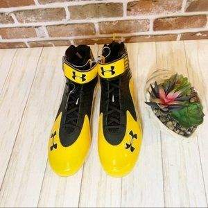 Men's Under armour yellow black football cleats 16